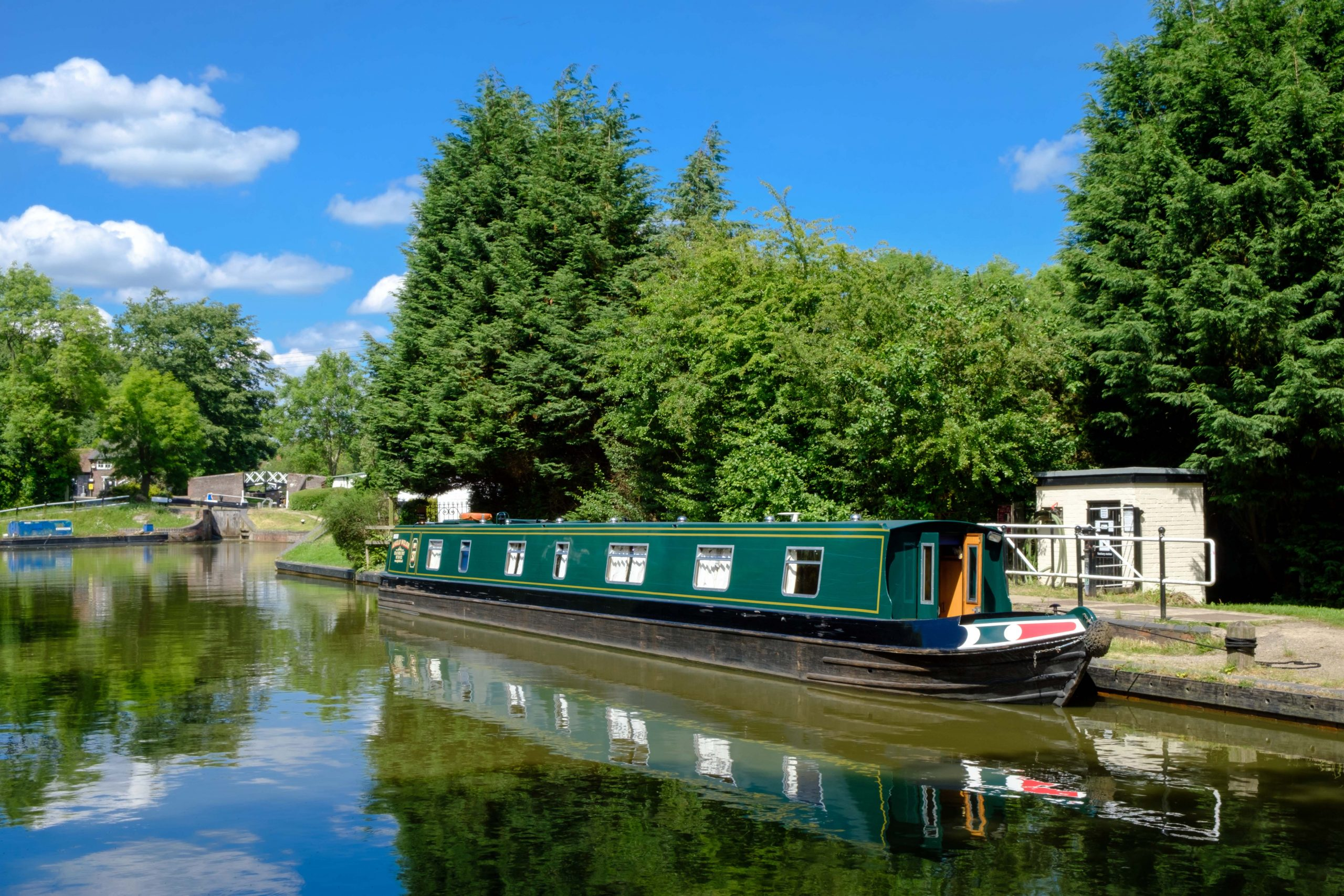 Canal Boat Moored by a lock